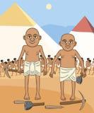 Egyptische bouwers bij piramides achtergrondbeeldverhaal stock illustratie