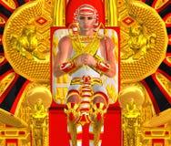 Egyptische Farao Ramses Close omhoog, gezet op troon royalty-vrije stock afbeelding