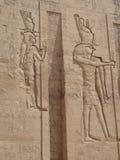 Egyptische fresko. Textuur en achtergrond. Stock Fotografie