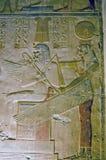 Egyptische Godin Mut met Pharoah Seti Stock Foto