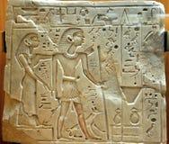 Egyptische hiëroglief in een musuem Stock Foto