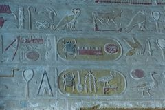 Egyptische hiërogliefen, Egypte, Oktober, 2002 royalty-vrije stock fotografie
