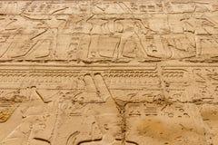 Egyptische hiërogliefen op de muur in Karnak stock foto's