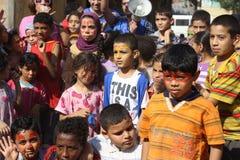 Egyptische jonge geitjes die bij liefdadigheidsgebeurtenis spelen in giza, Egypte Royalty-vrije Stock Foto