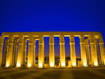 Egyptische kolommen bij nacht stock afbeelding