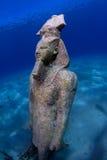 Egyptische Koning Ramses Statue Underwater stock foto