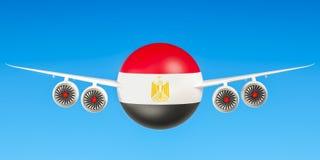 Egyptische luchtvaartlijnen en flying& x27; s, vluchten aan het concept van Egypte 3d ren Royalty-vrije Stock Fotografie