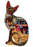 Egyptische patronen bij kat royalty-vrije illustratie