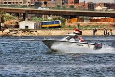 Egyptische politieboot Stock Foto's