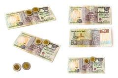 Egyptische ponden bankbiljet en muntstukken geplaatst, EGP Stock Foto's