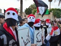 Egyptische protestors die protesttekens houden Royalty-vrije Stock Foto
