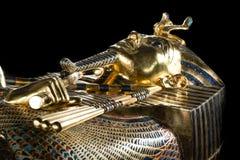 Egyptische sarcofaagfarao tutankhamun Tentoonstelling in Peter en Paul Fortress royalty-vrije stock foto