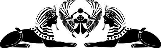 Egyptische sfinx met mestkever Stock Foto