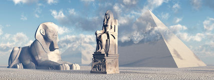 Egyptische sfinx, standbeeld en piramides stock illustratie
