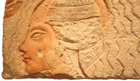 Egyptische steen met gegraveerd hoofd Stock Fotografie
