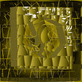 Egyptische symbolen op de achtergrond van metselwerk Stock Foto's