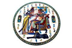 Egyptische tekeningen op de plaat Stock Afbeeldingen