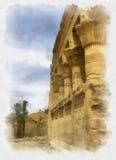 Egyptische tempel, aquarelle tekening Stock Foto's