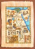 Egyptisk översikt på den forntida papyruset Royaltyfri Bild
