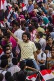 Egyptisk aktivist som protesterar mot muslimskt brödraskap Arkivfoto