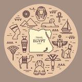 Egyptisk etnisk symbol för stam- konst Egypten skissar utdragna svarta konturer för tecknad filmhand på en vit bakgrund Tatuering royaltyfri illustrationer