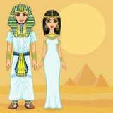 Egyptisk familj för animering i forntida kläder