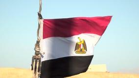 Egyptisk flagga som fladdrar i vinden stock video