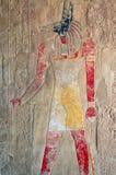 Egyptisk gud Anubis, en forntida freskomålning Arkivfoto