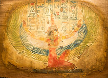 Egyptisk handmålning på papyruset Arkivfoton