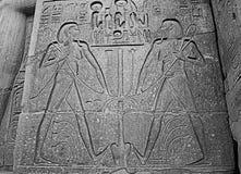 Egyptisk hieroglyfer på kalkstenväggen i egyptisk tempel arkivbild