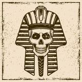 Egyptisk illustration för vektor för faraoskallehuvud Vektor Illustrationer