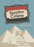Egyptisk kokkonst för banerrestaurang med pyramiden royaltyfri illustrationer