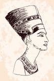 egyptisk nefertitidrottning stock illustrationer