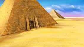 Egyptisk pyramid med ingången Fotografering för Bildbyråer