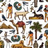 Egyptisk sömlös modell för religion och för kultur vektor illustrationer