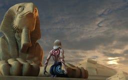 Egyptisk staty stock illustrationer