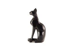 Egyptisk statyett av en svart katt royaltyfri fotografi