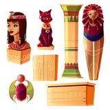 Egyptisk uppsättning för vektor - drottningbyst, faraosarkofag stock illustrationer