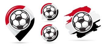 Egyptiska fotbollvektorsymboler Bollen i netto Uppsättning av fotbollsymboler Fotbollöversiktspekare sport för fotboll för bollfo royaltyfri illustrationer