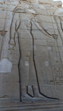 Egyptiska gravyrer för forntida tempel på Royaltyfri Fotografi