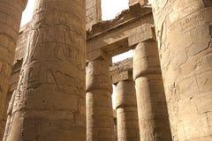 Egyptiska hieroglyf och teckningar på väggarna och kolonnerna Egyptiskt språk, livet av forntida gudar och folk i hieroglyfiskt Royaltyfria Foton