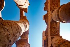 Egyptiska hieroglyfiska kolonner i Luxor, Egypten Arkivbilder