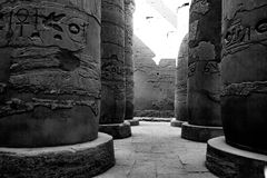Egyptiska hieroglyfiska kolonner i Luxor, Egypten Royaltyfria Bilder