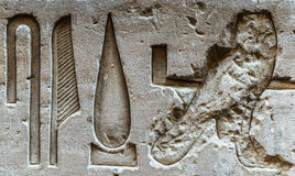 egyptiska hieroglyphs Fotografering för Bildbyråer