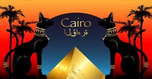 Egyptiska katter och guld- antik pyramid Bastet den forntida Egypten gudinnan och gömma i handflatan, statyprofilen med Pharaonic stock illustrationer
