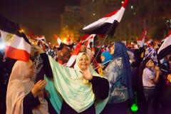 Egyptiska kvinnor som delar revolutionen Arkivbilder