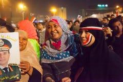 Egyptiska kvinnor som delar revolutionen Royaltyfri Foto