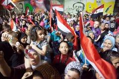 Egyptiska kvinnor som delar revolutionen Arkivbild