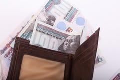 Egyptiska pengar och plånbok arkivfoto
