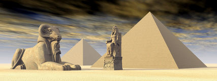 Egyptiska pyramider och statyer stock illustrationer